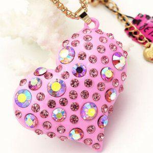 Betsey Johnson Rhinestone Pink Heart Necklace